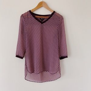 MEX Size 2 Super cute Purple Pattern print Very lightweight  Casual Blouse